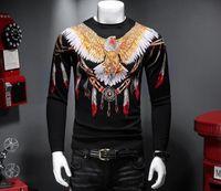 가을과 겨울 성격 모달 독수리 인쇄 남성 스웨터 라운드 넥 슬림 바닥을 셔츠 세련되고 아름다운 얇은 코트