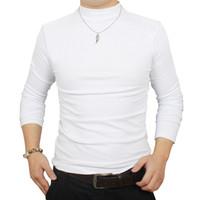 T gömlek erkekler kış termal t-shirt adam yarım balıkçı yaka tshirt sonbahar bahar t-shirt erkek temel sıcak kalın gömlek tops giyim