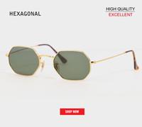 Оптовая Ретро мода с плоским объективом 3556 Солнцезащитные очки Квадратные Винтаж гексагональной дизайнер Солнцезащитные очки Мужчины UV400 Классическое отражающее зеркало солнцезащитные очки
