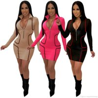 Femmes en V profond Robe moulante avant Zipper Designer Crayon Robes Vêtements Slim Fit Robe Skinny