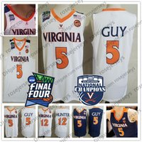 2019 Champion Virginia Cavaliers Kyle Guy Weiß Jersey # 5 UVA NCAA Final Four 12 De'Andre Hunter Herren-Basketball-Navy Blue Jerseys XXXL