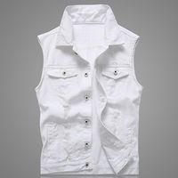 Hole Denim Gilet White Men Jeans Vest Solid Rock Gilet Per Uomini Fashions estate senza maniche Giacca 5XL Punk Biker Ripped
