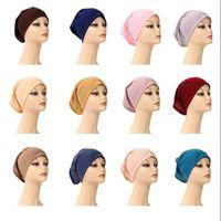 Femmes Musulmanes intérieur Hijab Cap islamique modales Foulard Underscarf Chapeau chaud Ninja écharpe Ramadan Stretch Cotton Bonnet Caps CYP772