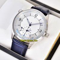 Новый мастер географический двойной часовой пояс Q1428530 1428530 белый циферблат автоматические мужские часы 316L стальной корпус Кожаный ремешок мужские часы