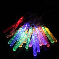 LED solar tubos de bolha strings ao ar livre À prova d 'água jardim iluminação cadeias de casas festa de casamento de Natal árvore decoração luzes