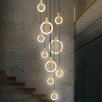 Moderna madera nódica LED anillo arañolines anillo acrílico escalera iluminación accesorios para sala de estar comedor escalera 3/5/6/7/10