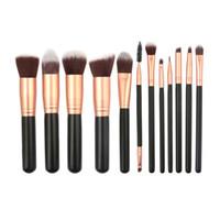 Mango de madera Pinceles de Maquillaje Conjunto Base Blush Sombra de Ojos Mezcla de Cepillos Cosméticos Maquillaje Herramientas 12 Unids / set RRA1012