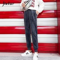 Elastic Waist Pants Womans Solid Color Casual Street Warm Ha...