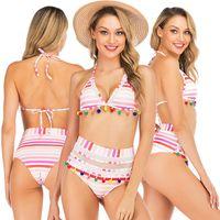 a484fc570a New Arrival. Summer Vacation Outfits Halter Triangle Beach Wear Fashion Swimming  Costume Sexy American Women's Swimwear High Waist Tassel Hem Bikinis