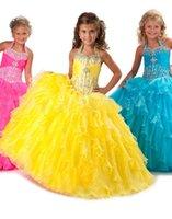 Carino Giallo Girls Pageant Abiti Principessa Halter Beaded Ruffles Party Bupcake Prom Dress per Breve Girl Pretty Flower Girl Abiti 87