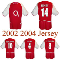 2002 2004 Vieira Henry Bergkamp Ljungberg Retro Soccer Jersey 02 03 04 Pires Cole Wildord Gilberto Camicia da calcio classica vintage