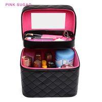 Розового Sugao макияжа случая путешествие организатор женщина макияж мешок косметический мешок мода макияж случай багажных гигиенического набор с зеркалом нового