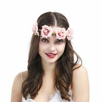 Rose elastische Blumen-Stirnband Hochzeit Blumenkrone Süße Kranz Bridesmaid Garland Bride Bandeau Cheveux Boho Haarschmuck