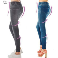 طماق جينز المرأة الدنيم بانت مع ضئيلة Jegging اللياقة البدنية زائد حجم السراويل XXL أسود رمادي أزرق