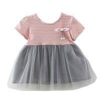 Vestido Gril Verano Casual para bebés Vestido de rayas con rayas Algodón para niños pequeños Manga corta