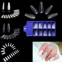 100pcs Falso Nail Dica arte para a mulher meninas Branco / Clear / Coffin Natural Acrílico Manicure Ferramentas para encompridar Acrílico Nail Supplies