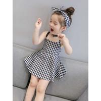 Kinder Designer-Kleid-Mädchen-Marken-Art- Rock Kids Plaid Halter Röcke Mädchen Halter-nettes Kleid 2020 Sommer-Großverkauf