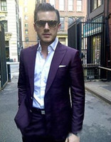 Gloednieuwe Dark Paars Mannen Bruiloft Tuxdos Piek Revers Slim Fit Bruidegom Tuxedos Uitstekende Mannen Jas Blazer 2 Stuk Suit (Jas + Broek + Tie) 2648