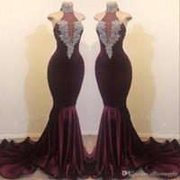 Elegante 2020 Borgonha Sereia Prom Vestidos Frisados de Cristal Veludo Alta Jóia Pescoço Vestido Formal Vestido Vestido Vestidos Custom