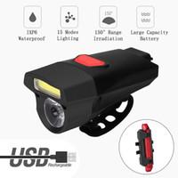 1 pieza delantera de la bicicleta luz conjunto USB recargable y elegante de la batería Noche faros LED MTB bici del camino de ciclo de la linterna de la lámpara