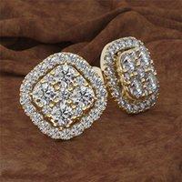 ساحة الكامل 14K وردة نوع ذهب 1 قيراط الماس والمجوهرات ثمانية العقيق 14K الذهب الزبرجد الماس مربط القرط الأحجار الكريمة أقراط النساء CJ191223