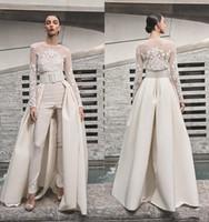 Brautkleider Frauen-Overalls mit abnehmbarem Rock Satin-Schleife-Zug-Schatz-Land-Brautkleider mit Jacke Langarm 4375