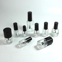 Bottiglie vuote di olio per unghie bottiglia smalto gelatinoso in vetro trasparente 5-8-10-12-15ml Forma quadrata rotonda con tappo a vite in plastica nera