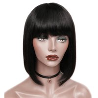 Virgin Human Hair Short Bob Wig With Bangs Brazilian Glueles...