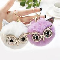 10pcs / Lot Kızlar Takı Anahtarlıklar Moda Baykuş kabarık Sevimli Anahtarlık Parti Hediye Araç Dekor Kadınlar Çanta kolye Süs için