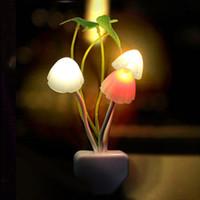 أضواء غرفة نوم ليلة الفطر ضوء استشعار الضوء مصباح LED مصباح الفطر ورقة لوتس الفانوس السحري الملونة