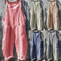 Uzun Bodysuit Kadınlar Yaz Rahat Tulum Kolsuz Cepler Tulumlar Dikey Çizgili Bib Tulum Gevşek Artı Boyutu Streewear