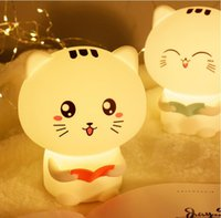 Silicone cat LED night light usb rechargeable cartoon pets r...