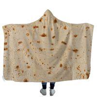 Criativo Mexicano Tortilla Com Capuz cobertor Macio e Quente Crianças Cobertor com Capuz Sherpa Fleece Snuggle wearable Cobertores para Crianças 130 cm * 150 cm