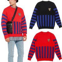 Color Blocked Print Men Striped Sweaters Round Neck Simple S...