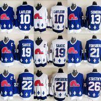 Quebec Nordiques Winter Klassische Männer 10 Guy Lafleur 13 Mats Sundin 21 Peter Forsberg 26 Peter Stastny 19 Joe Sakic 22 Mario Marois Jersey