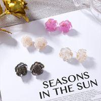 Corea del nuovo 2019 resina acrilica fiore orecchini con perno per le donne eleganti gioielli pendenti floreali vintage Brincos