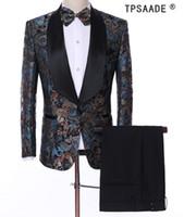 Modèle TPSAADE Costumes Hommes Costume Fait Plus La Taille Châle Col Tuxedos (Veste + Pantalon + Gilet + Noeud Papillon) Mode Blazer Homme Costumes Costume