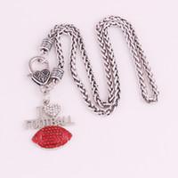 H24 Cynk Rhodium Plating I Heart (Love) Piłka nożna Wisiorki Whate Chain / Snake Chain / Learher Line Necklace