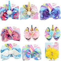 "8 ""Hair Bow girl colorido Geometry print Bow Mermaid Barrettes Girl girl Hairbands Girls Hair Unicorn party hair bows"