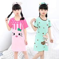 Nuevo verano para niños ropa de dormir de algodón de manga corta vestido de impresión de moda pijamas falda niñas ropa de dormir de gran tamaño