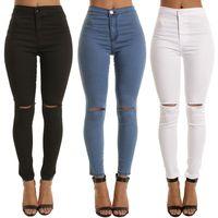Frauen mit hoher Taille Jeans Loch Baumwolle Damen Hight Taillierte Kolben-Aufzug Stretch zerrissene dünne Jeans Distressed plus Größe XXXL-Denim-Hosen