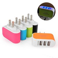 3 USB LED Wall carregadores 5V 3.1A Adaptador de viagem Adaptador de alimentação conveniente com portas triplo USB carregador de parede para o telefone móvel