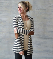 A forma das mulheres Camisolas New Arrival Cardigan Casual Striped Mulheres Sweater Jacket manga comprida Tops Roupa Qualidade Tamanho S-2XL