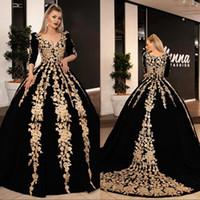 Uzun Abiye 2020 Muhteşem Balo 34 Uzun Kollu V Yaka Arapça Altın Dantel Kadife Siyah Kadınlar Örgün Abiye giyim