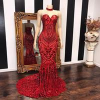 Brillantes con cordones Lentejuelas sirena vestidos de noche 2020 Moderno de novia largo rojo de la sirena imagen real de baile vestidos formales robe de soiree