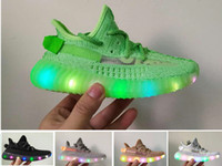 Niños Kanye West Clay Hyperspace Trfrm Sneakers Boy Girl Kids Led Static Antlia Cream Green Black Designer Running Shoes Baby regalo 28-35