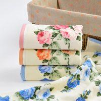 Alta calidad Home Hotel algodón suave toalla de cara colorido de la flor de bambú seco de fibra rápida toallas de baño de tela de cara Handdoek