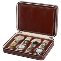 8 сетки PU кожаные часы коробка хранения показаны часы дисплея хранения коробка корпус лоток zippere путешествия ювелирные изделия часы коллектор
