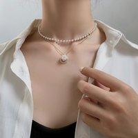 Kpop mode perle Collier ras du cou Femmes Cute Girl or couleur double couche chaîne pendentif perle coréenne Bijoux Femme Collier 2020