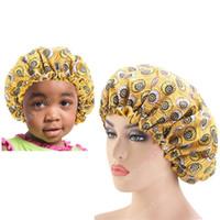 2PCS / SET Leke İpeksi Büyük Bonnet Veli Çocuklar Afrika Ankara Bonnet Kadın Çocuklar Uyku Cap Headwrap Şapka Saç Wrap yazdır